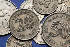 Münzen von Malaysia Stockbild