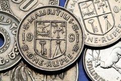 Münzen von Mauritius Stockbild