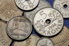 Münzen von Norwegen Stockbild