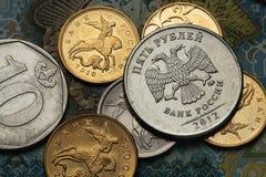 Münzen von Russland Stockfotos