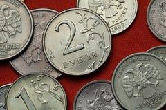 Münzen von Russland stockfotografie