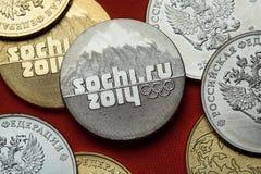 Münzen von Russland Sochi 2014 Winter Olympics Lizenzfreies Stockfoto