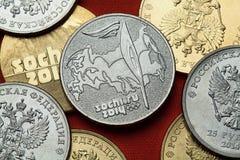 Münzen von Russland Sochi 2014 Winter Olympics Lizenzfreie Stockfotos