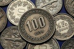 Münzen von Südkorea Stockfotos