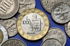Münzen von San Marino Stockfotografie