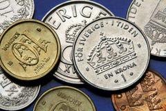 Münzen von Schweden Stockfotos