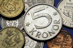 Münzen von Schweden Stockfotografie