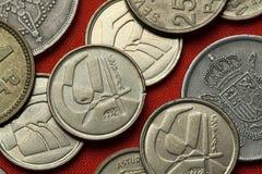 Münzen von Spanien stockbilder