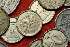 Münzen von Spanien Asturisches Getreidespeicher horreo lizenzfreies stockfoto