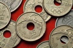 Münzen von Spanien Barcelona 1992 Sommer Olympics Lizenzfreie Stockbilder
