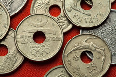 Münzen von Spanien Barcelona 1992 Sommer Olympics Stockfotografie