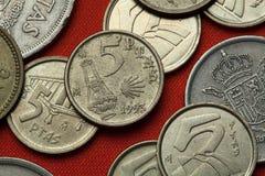 Münzen von Spanien Camino De Santiago Lizenzfreie Stockbilder