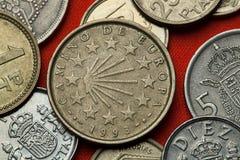 Münzen von Spanien Camino De Santiago Stockfotografie