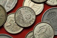 Münzen von Spanien Camino De Santiago Lizenzfreies Stockfoto