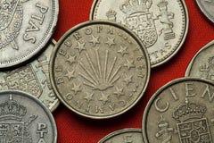 Münzen von Spanien Camino De Santiago Lizenzfreies Stockbild