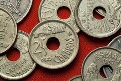 Münzen von Spanien Costa Martianez, Kanarische Inseln Lizenzfreie Stockfotografie