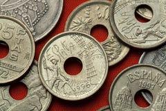 Münzen von Spanien Don Quijote und Windmühle Lizenzfreie Stockfotos
