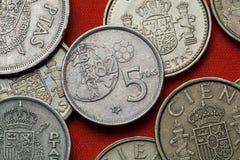Münzen von Spanien Fußball-Weltmeisterschaft 1982 stockbilder