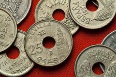Münzen von Spanien Giralda Kontrollturm in Sevilla Stockbilder