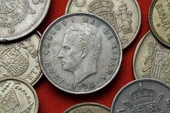 Münzen von Spanien König Juan Carlos I Lizenzfreie Stockbilder