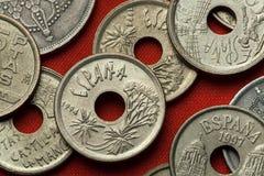 Münzen von Spanien Kanarische Inseln Dragon Tree Lizenzfreie Stockbilder