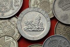 Münzen von Spanien La Cibeles-Brunnen in Madrid Stockbilder