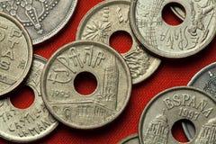 Münzen von Spanien Segovia, Olivenölseife und Leon Lizenzfreies Stockfoto