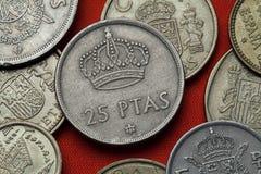 Münzen von Spanien Spanische königliche Krone Stockfotos