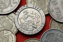 Münzen von Spanien Spanischer Maler Mariano Fortuny stockfoto