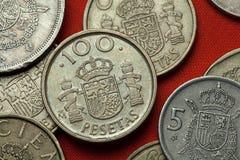 Münzen von Spanien Spanisches Hoheitszeichen Stockbild