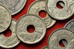 Münzen von Spanien Stiere von Guisando in Avila Stockfotos