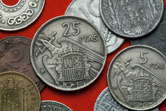 Münzen von Spanien unter Franco Lizenzfreie Stockbilder
