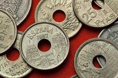 Münzen von Spanien Versammlungs-Palast in Melilla Lizenzfreies Stockfoto