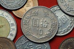 Münzen von Taiwan lizenzfreie stockfotos