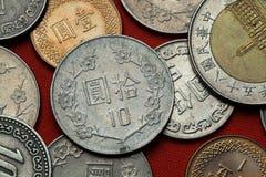 Münzen von Taiwan stockbild