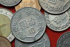 Münzen von Taiwan stockfotografie