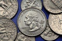 Münzen von USA George Washington Stockbild
