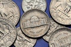 Münzen von USA Nickel Monticello US Lizenzfreie Stockfotografie