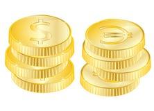 Münzen von vergolden Stockfotografie