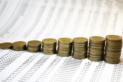 Münzendiagramm Stockfotos