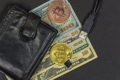 Münzengeldbeutel mit Bargeld, zwei Münzen Bitcoin, greller Antrieb und USB legen herein Lizenzfreies Stockfoto