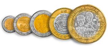 Münzenlinie des mexikanischen Pesos Lizenzfreies Stockbild