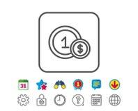 Münzenlinie Ikone Geld Sign Dolar, das Hand gibt Lizenzfreies Stockbild