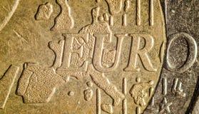 Münzenmakrodetail des Euros zwei Stockfoto