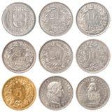 Münzensatz des Schweizer Franken Stockfotos