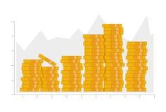 Münzenstapel Infographics Elemente Design-Illustrationsvektor der Goldgeldikone flacher Die goldene Taste oder Erreichen für den  stockfoto
