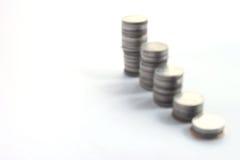 Münzenstapel, Unschärfe Stockfoto