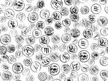 Münzenstempel auf dem Wighthintergrund Stockfotos