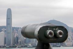 Münzenteleskop verwiesen auf Hong Kong lizenzfreie stockbilder