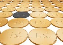 Münzenteppich des Gold 1$ auf Weiß Lizenzfreies Stockfoto